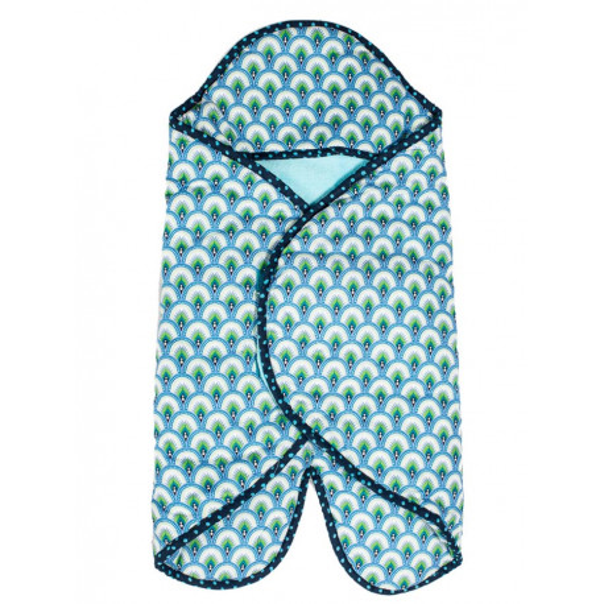 Nid d'ange couverture nomade coton éponge léger bébé 0-12 mois bleu