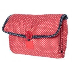 Tapis à langer nomade de voyage bébé coton éponge rouge à pois et bleu brut