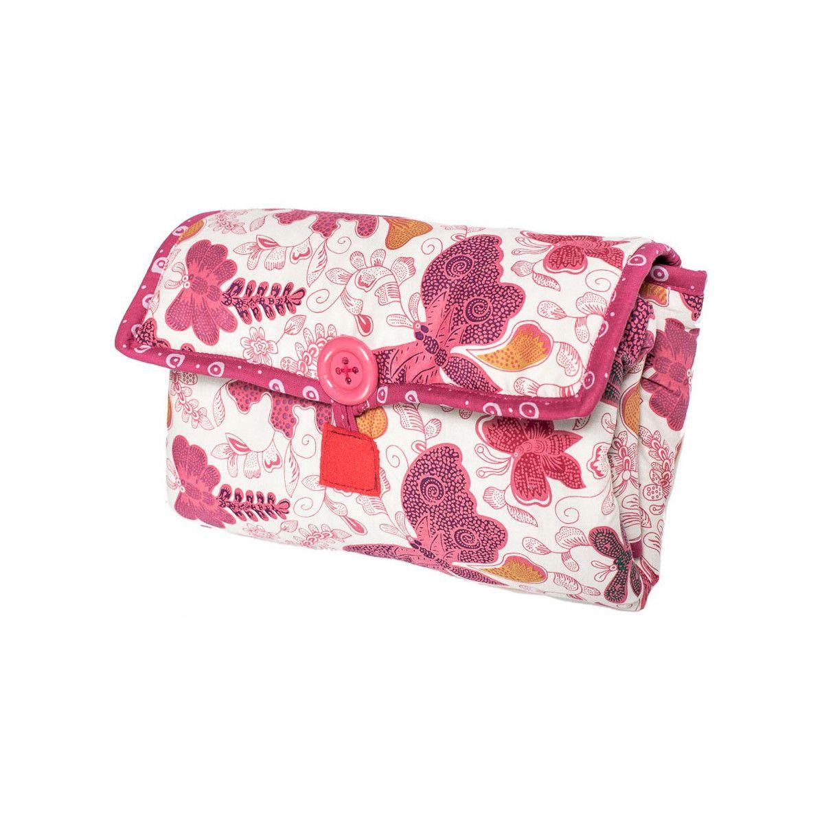 Tapis à langer nomade de voyage bébé coton éponge papillons roses et gris