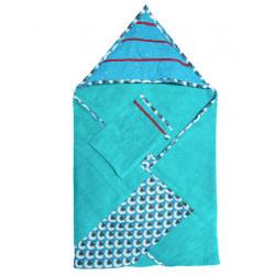 Cape de bain coton éponge bébé bleu