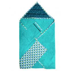 Cape de bain sortie de bain coton éponge bébé bleu et étoiles