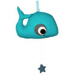 Boîte à musique coton pour bébé baleine à pois