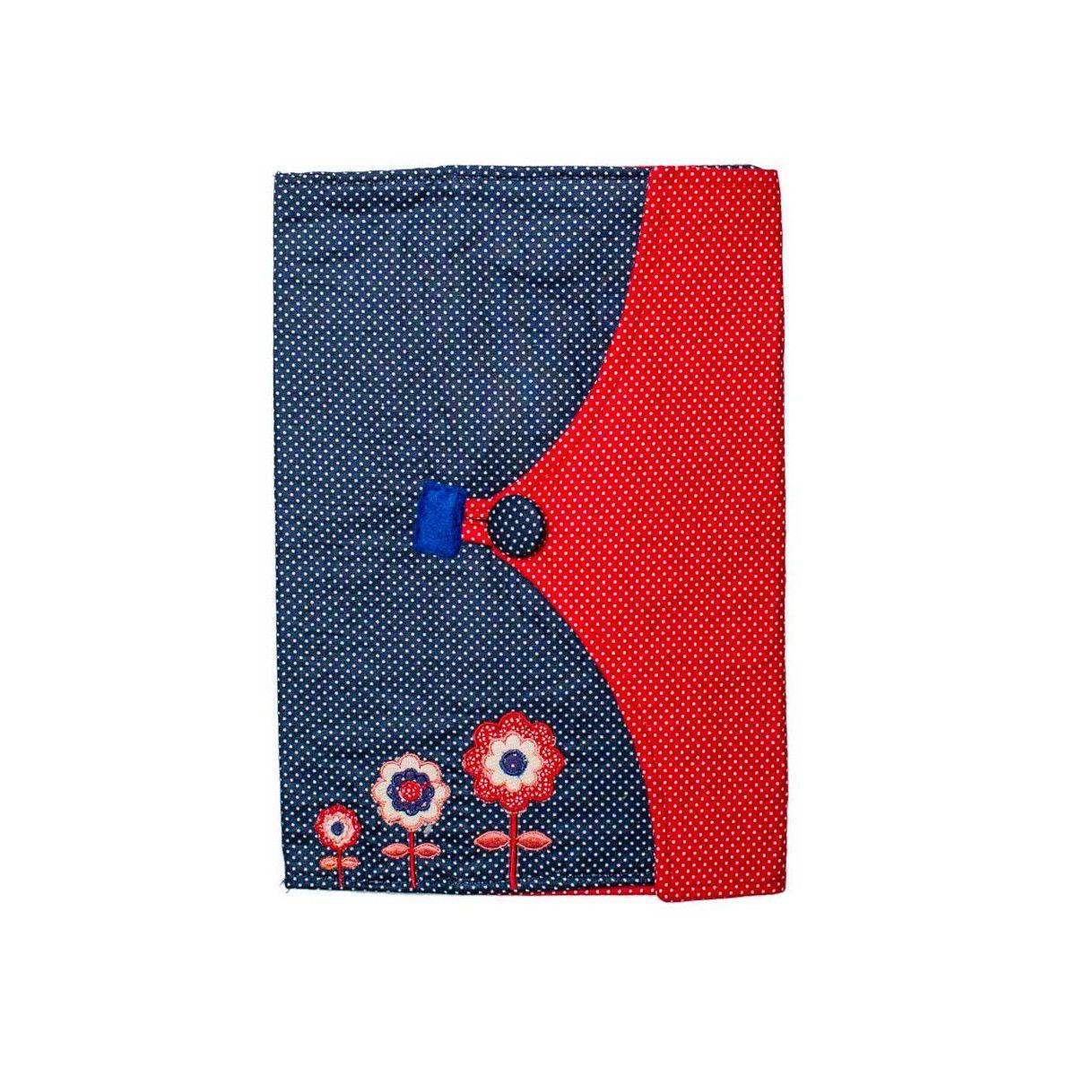 Protège carnet de santé bébé enfant bleu et fleurs rouges