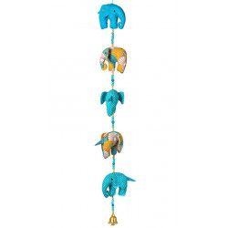 Mobile déco enfant bébé éléphants bleu et jaune moutarde