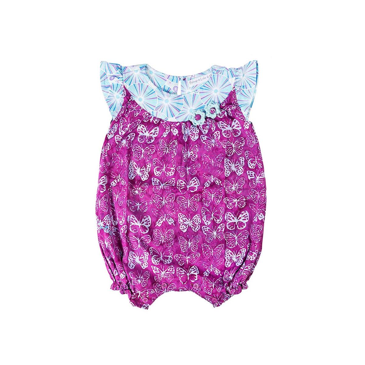 Barboteuse coton bébé fille 0-18 mois violette avec papillons