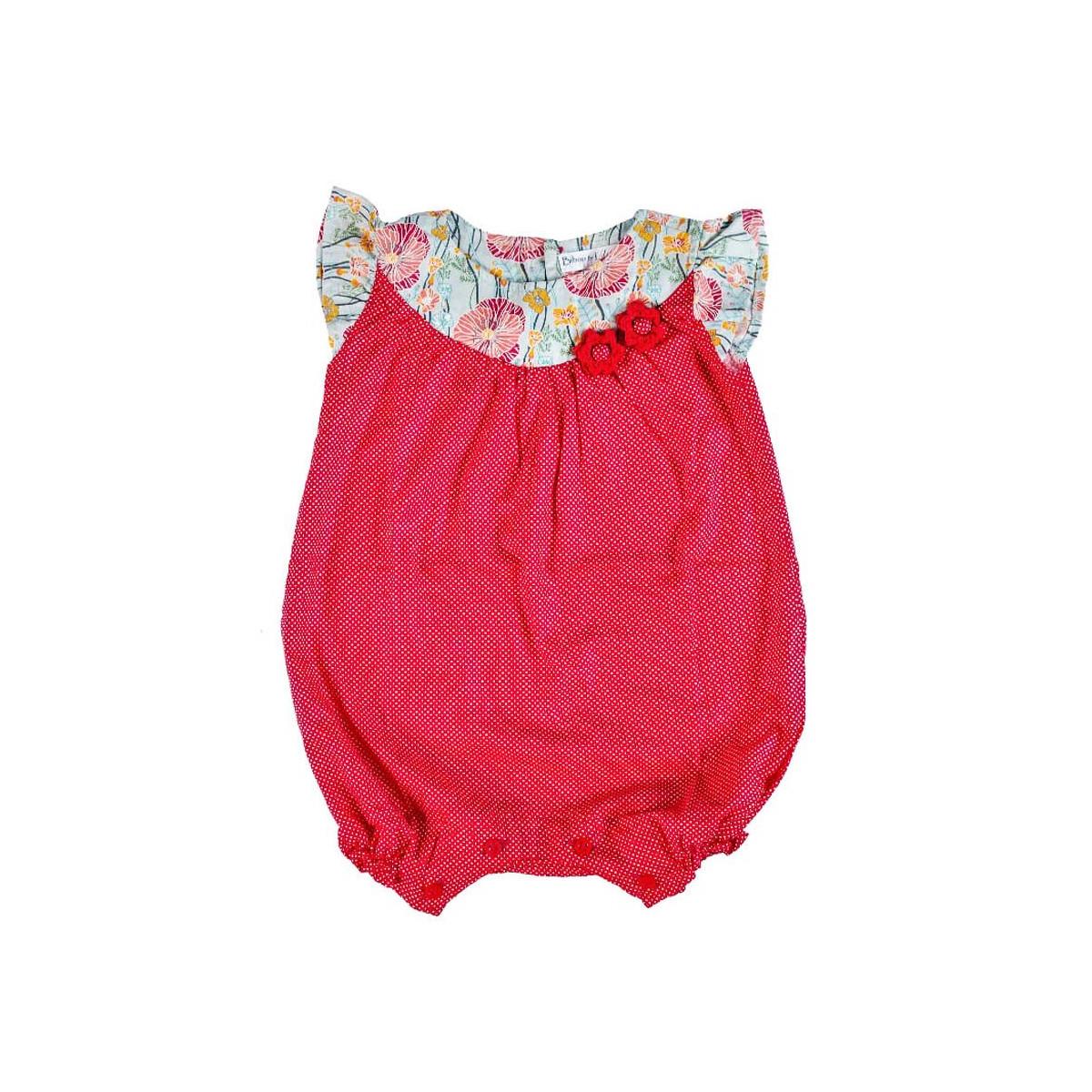Barboteuse coton bébé fille 0-18 mois rouge coquelicot à pois