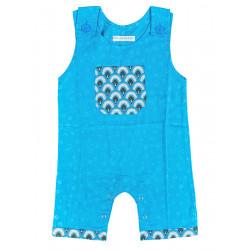 Barboteuse coton bébé garçon 0-18 mois bleu