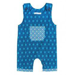 Barboteuse salopette coton bébé 0-18 mois bleu