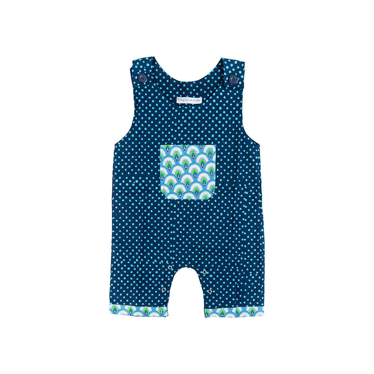 Barboteuse salopette coton bébé 0-18 mois bleu à pois