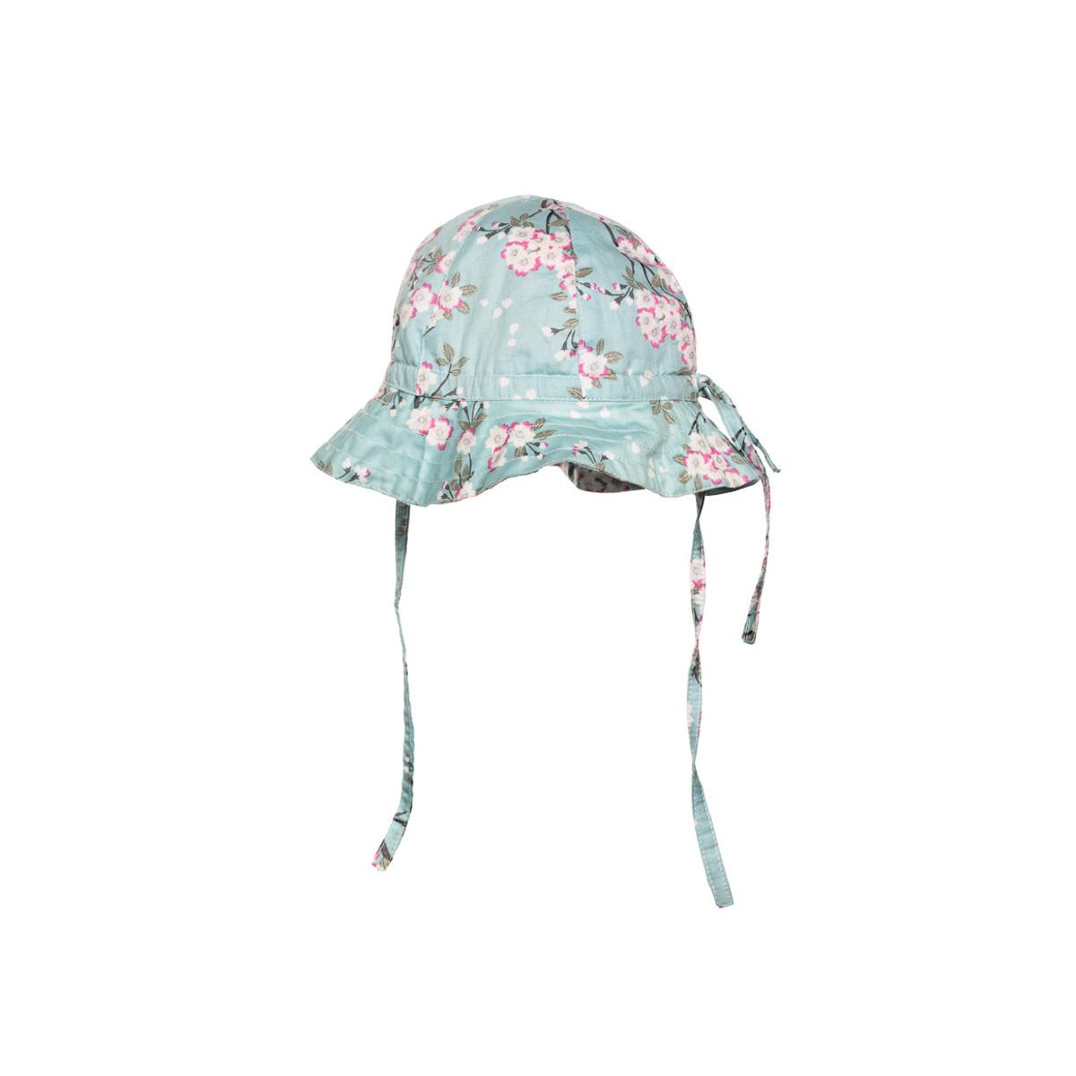 Chapeau de soleil bébé coton réglable vert d'eau à fleurs