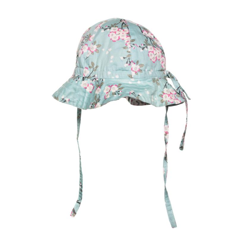 info pour 2c24f 4d1dd Chapeau de soleil bébé coton réglable vert d'eau à fleurs