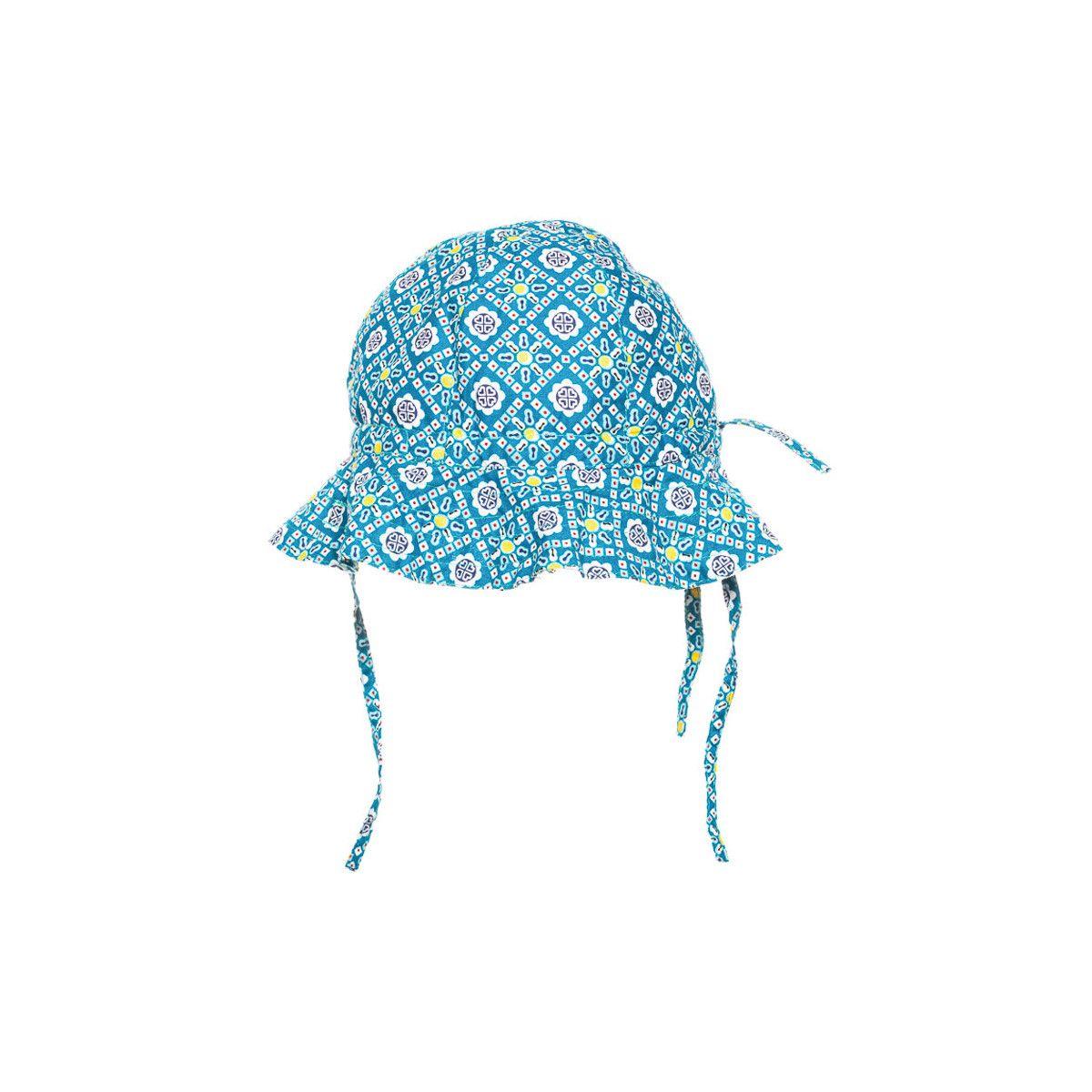 Chapeau de soleil bébé coton réglable bleu à motifs