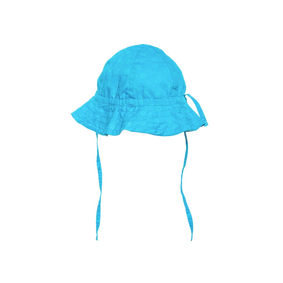 Chapeau de soleil bébé coton réglable bleu fushia