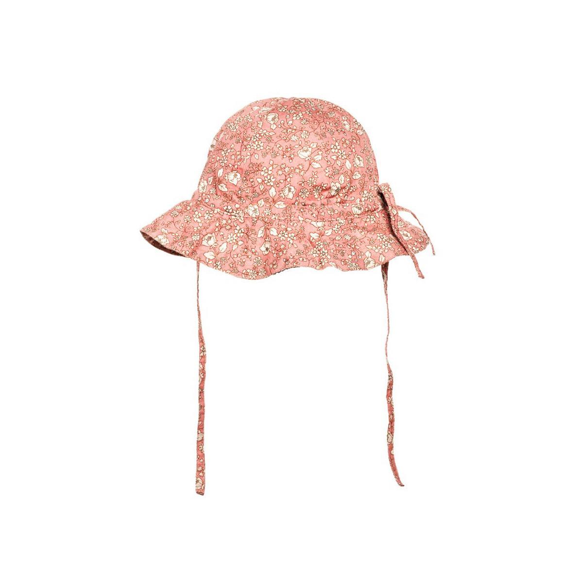 Chapeau de soleil bébé coton réglable rose tendre à fleurs