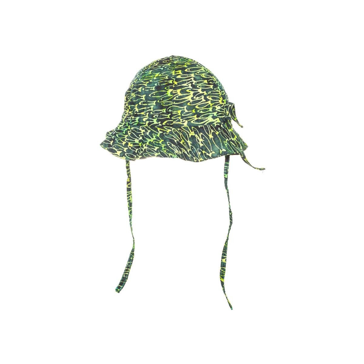 Chapeau de soleil bébé coton réglable vert à poisson