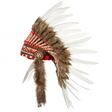 Coiffe indienne blanche vraies plumes