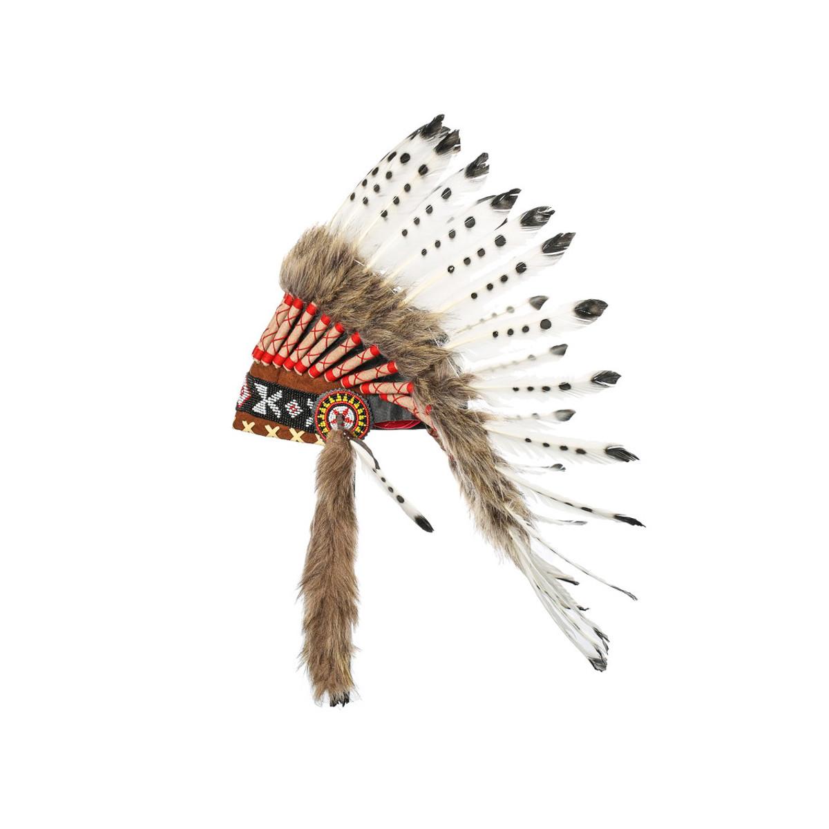 Coiffe indienne blanche à points noirs avec vraies plumes