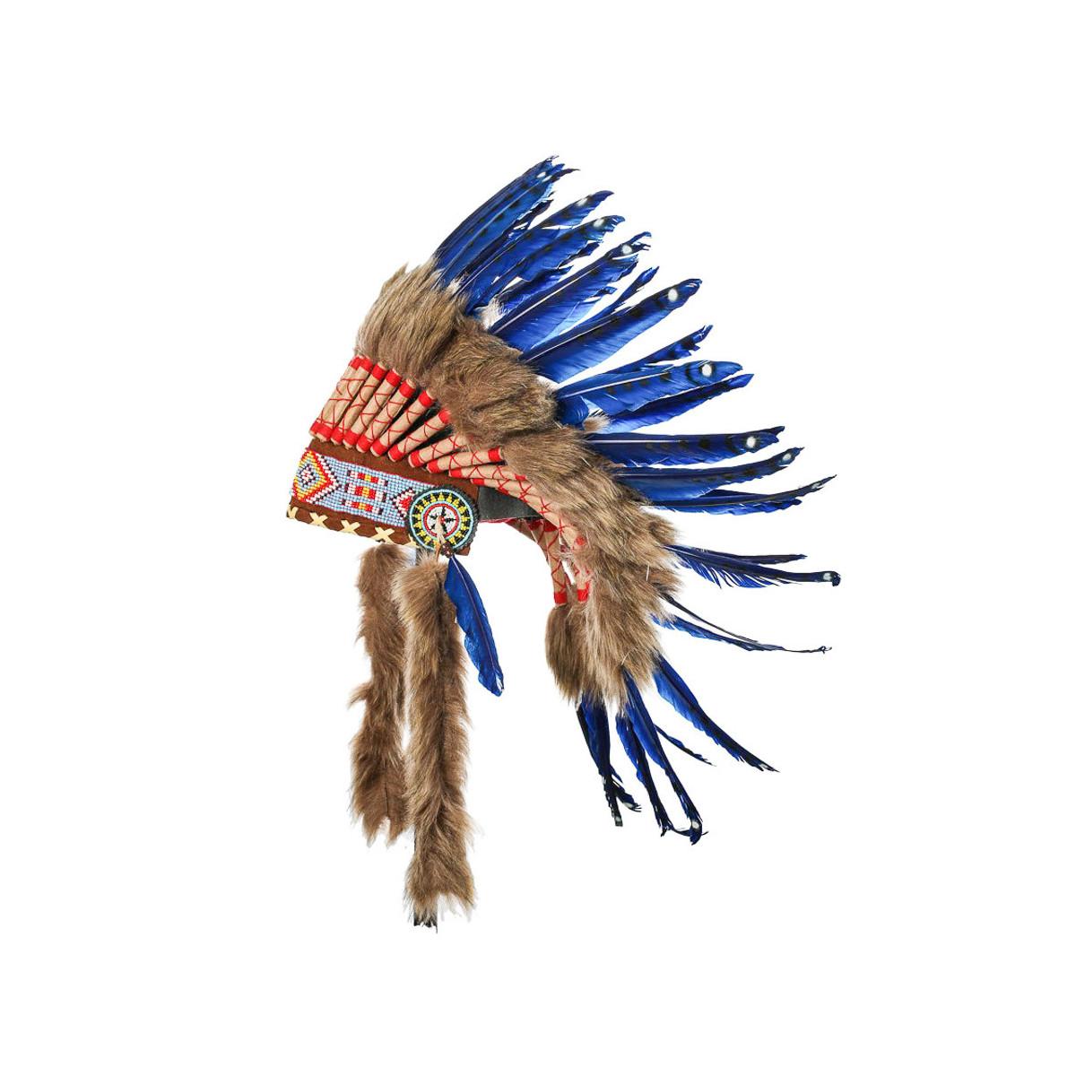 Coiffe indienne bleue avec vraies plumes