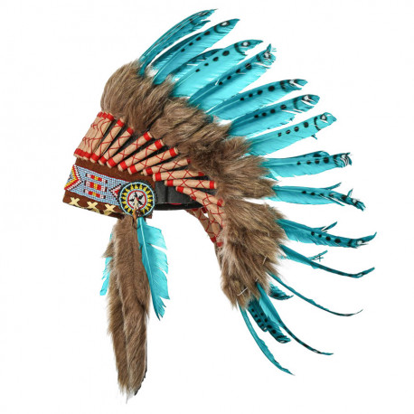 Coiffe indienne turquoise avec vraies plumes