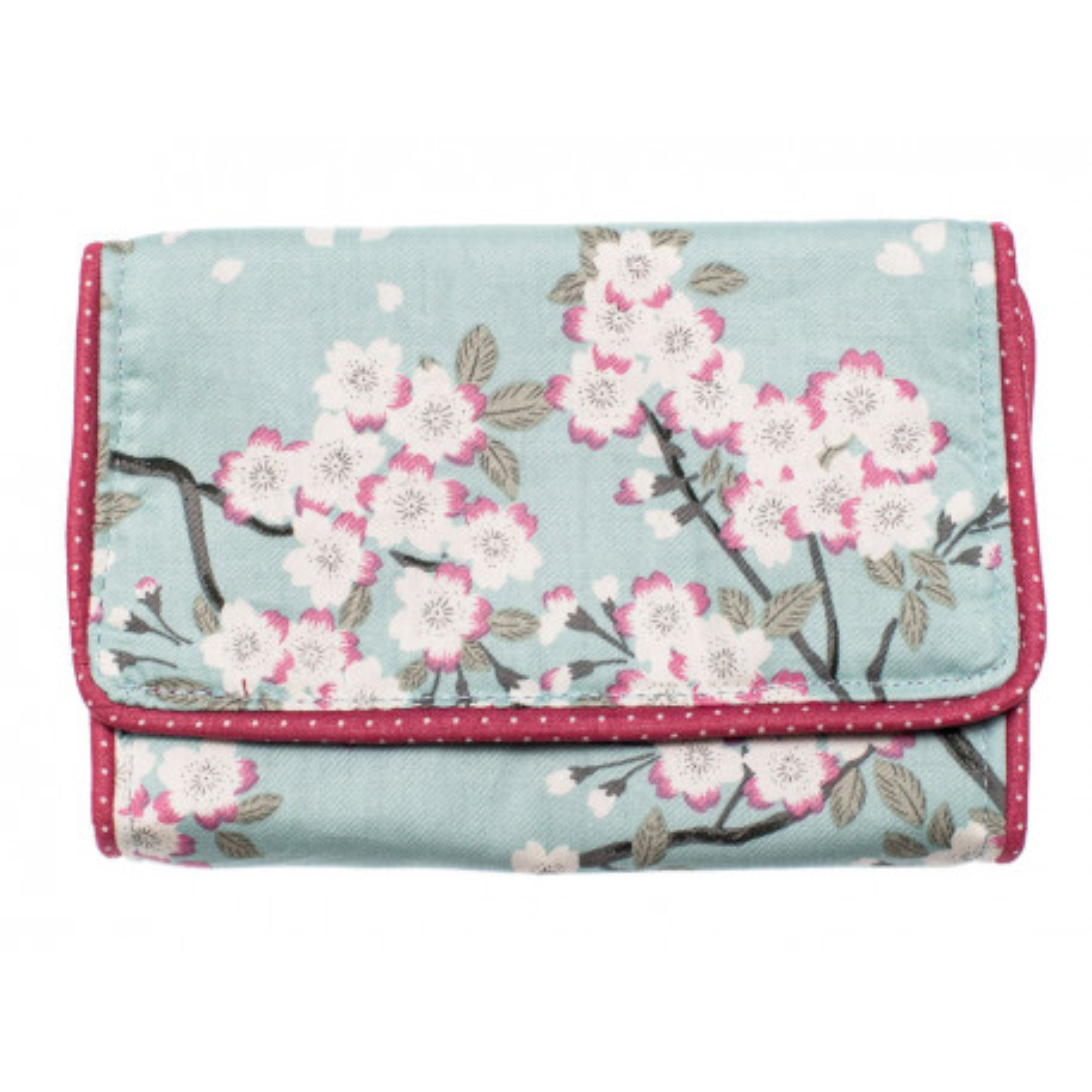 Pochette à barrettes fille bleu clair avec fleurs et rose