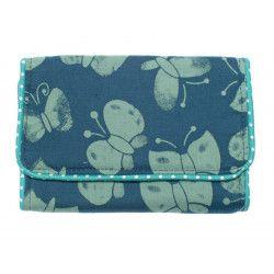 Pochette à barrettes fille bleu turquoise avec papillons