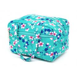 Petit vanity coton bleu turquoise à fleurs