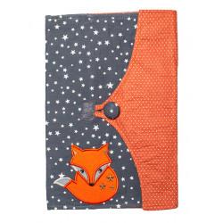 Protège carnet de santé bébé enfant renard orange et gris étoiles
