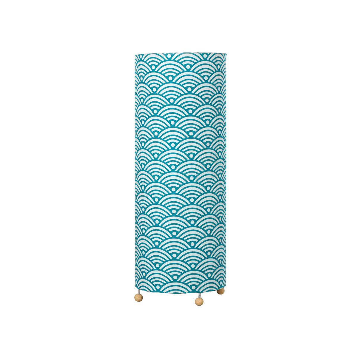 Grande lampe tube à poser bleu canard nami