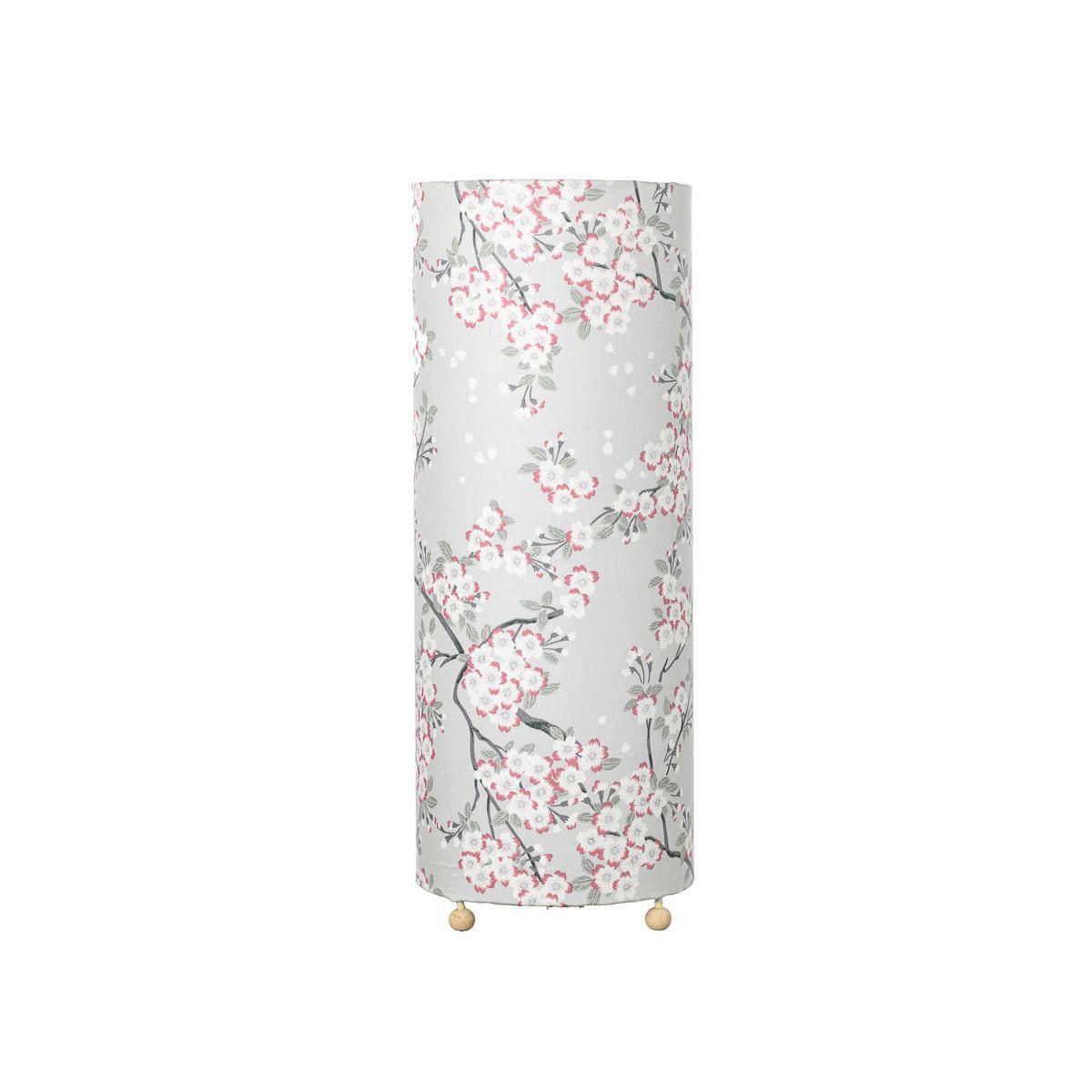 Grande lampe tube à poser bleu pâle fleurs de cerisiers