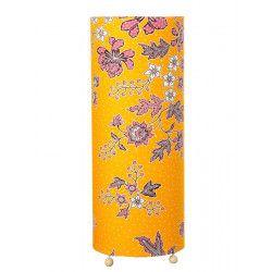Grande lampe tube à poser jaune moutarde à fleurs