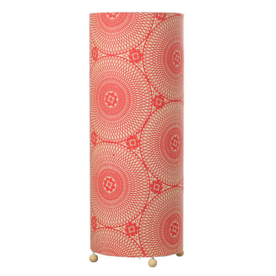 Grande lampe tube à poser rouge carmin motif mandala