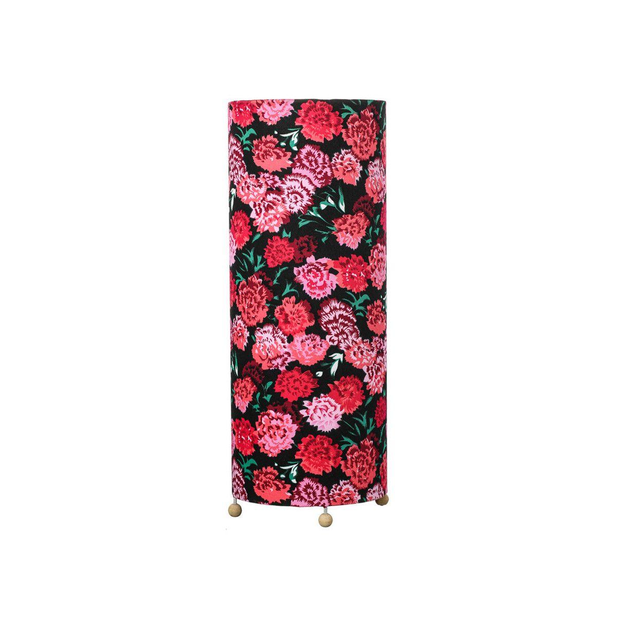 Grande lampe tube à poser noir à fleurs roses
