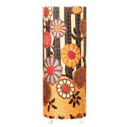 Grande lampe tube à poser jaune et noir avec fleurs et papillons