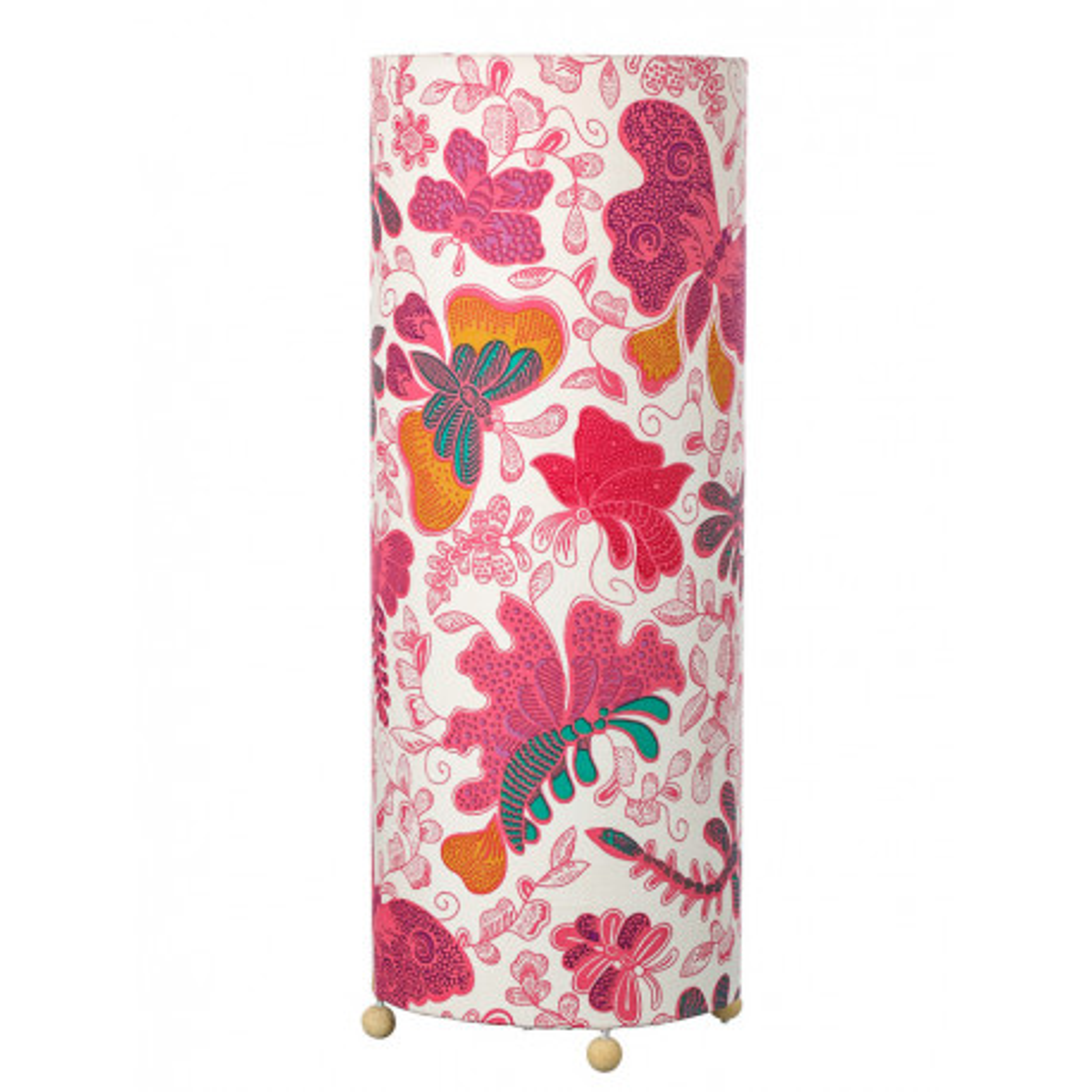 Grande lampe tube à poser papillons roses