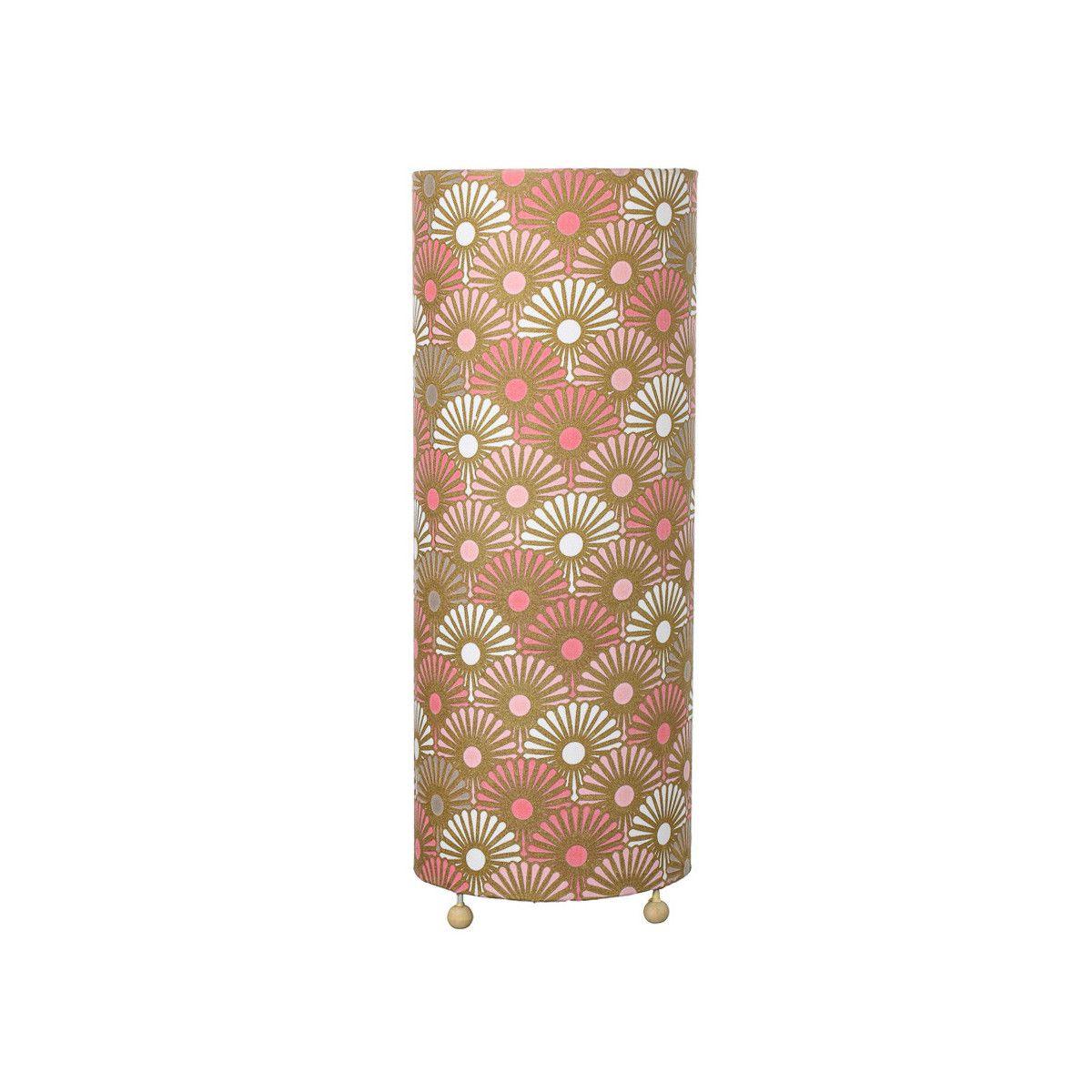 Grande lampe tube à poser rose et or