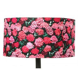 Grand abat-jour rond noir et fleurs roses