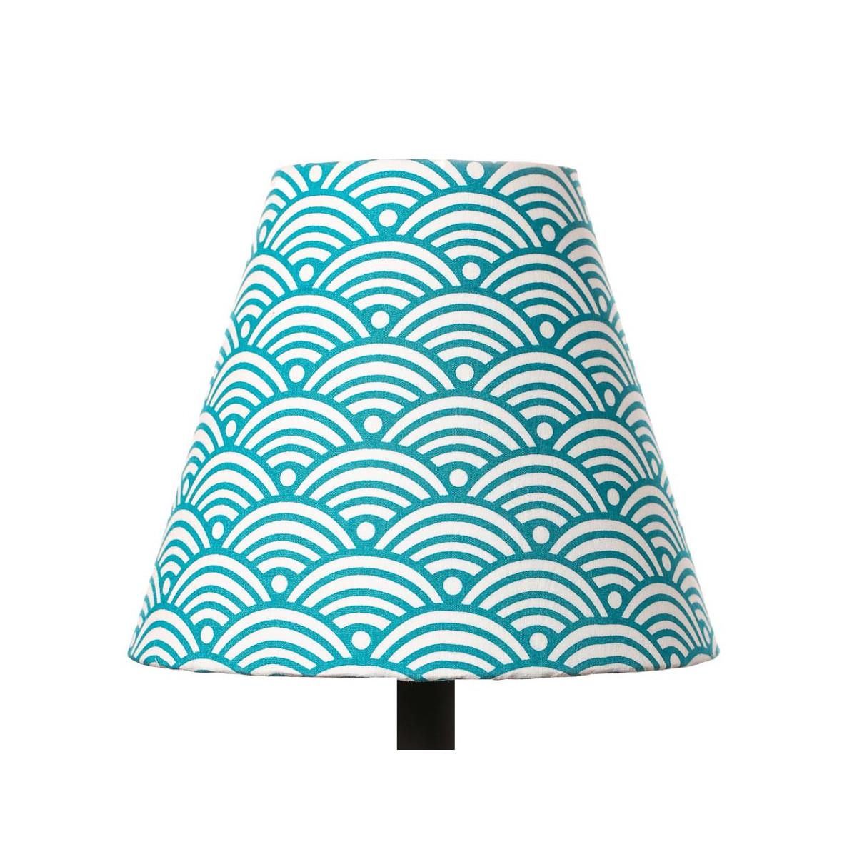 Petit abat-jour conique lampe bleu canard nami