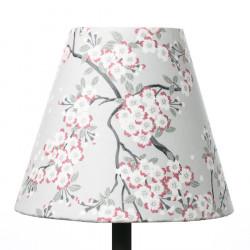Petit abat-jour conique lampe vert d'eau et fleurs cerisiers