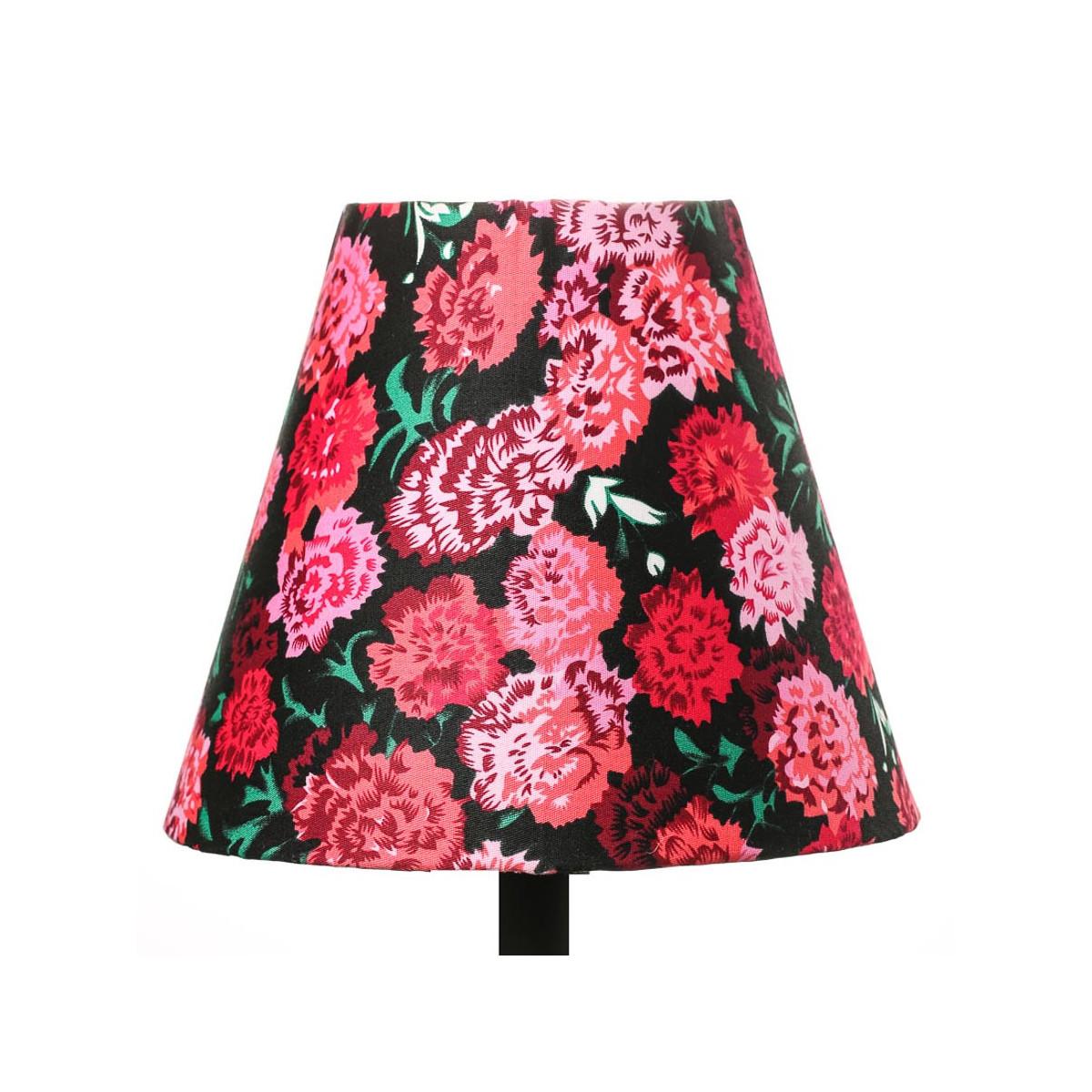 Petit abat-jour conique lampe noir et fleurs roses