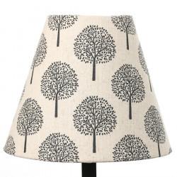 Petit abat-jour conique lampe écru et arbre noir