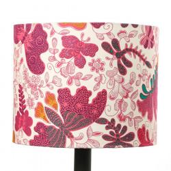 Petit abat-jour rond cylindre papillons roses