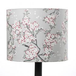 Petit abat-jour rond cylindre gris perle et fleurs de cerisiers