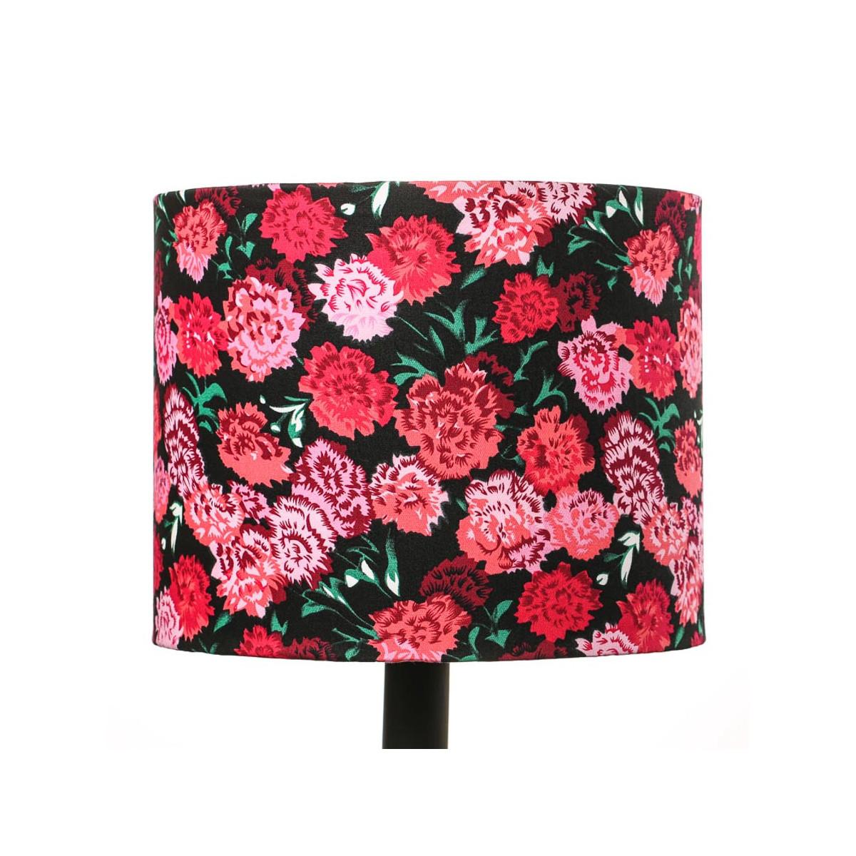 Petit abat-jour rond cylindre noir et fleurs roses