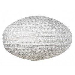 Lampion tissu boule japonaise ovale Asanoha argent