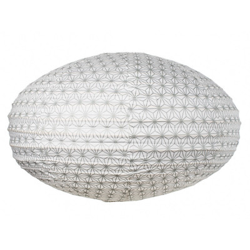 Lampion tissu boule japonaise ovale Asanoha silver