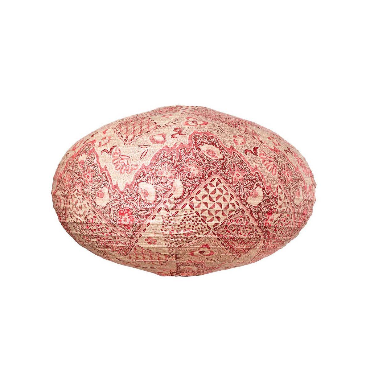 Lampion tissu boule japonaise ovale Batik rouge
