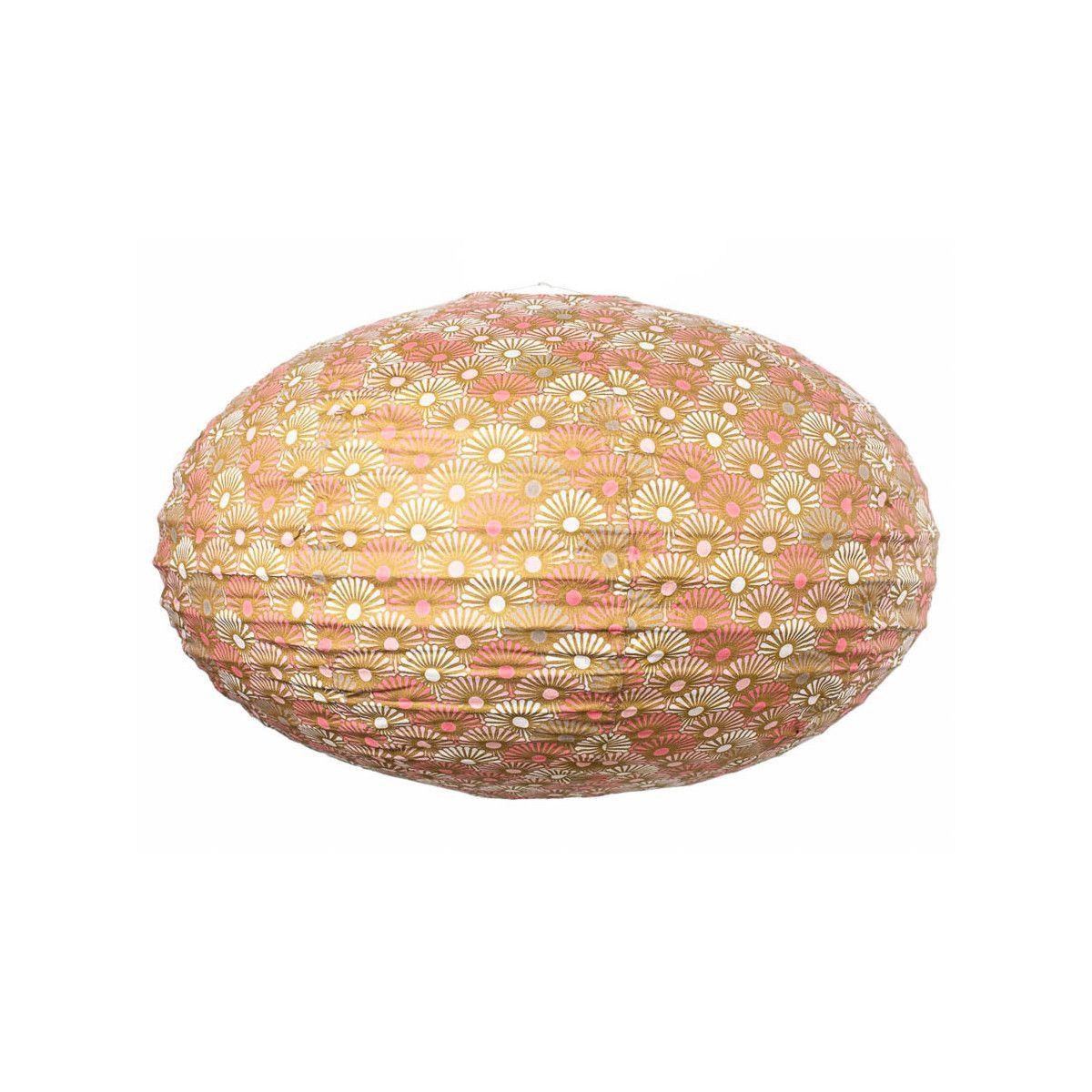 Lampion tissu boule japonaise ovale rose et or