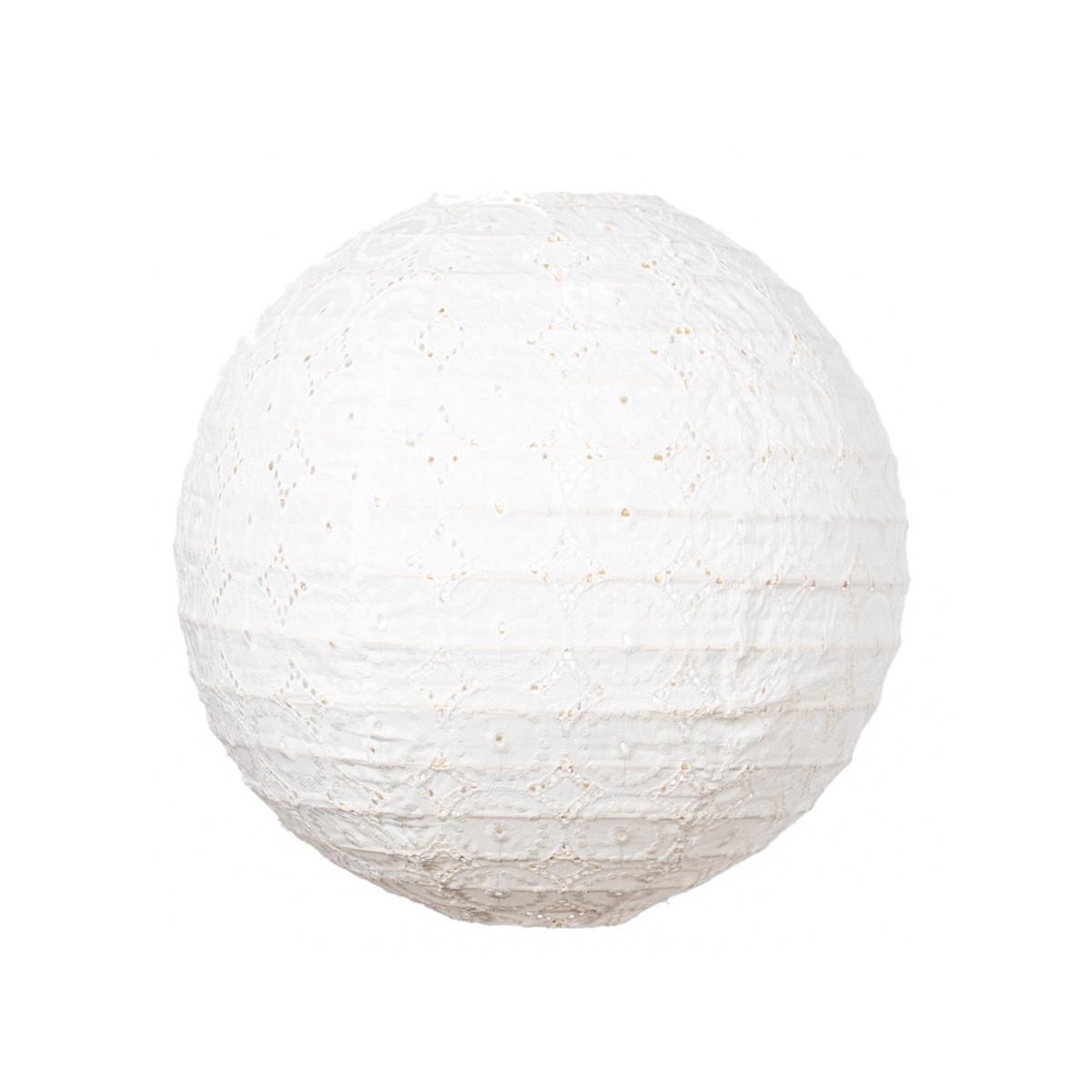 Lampion tissu boule japonaise rond blanc dentelle