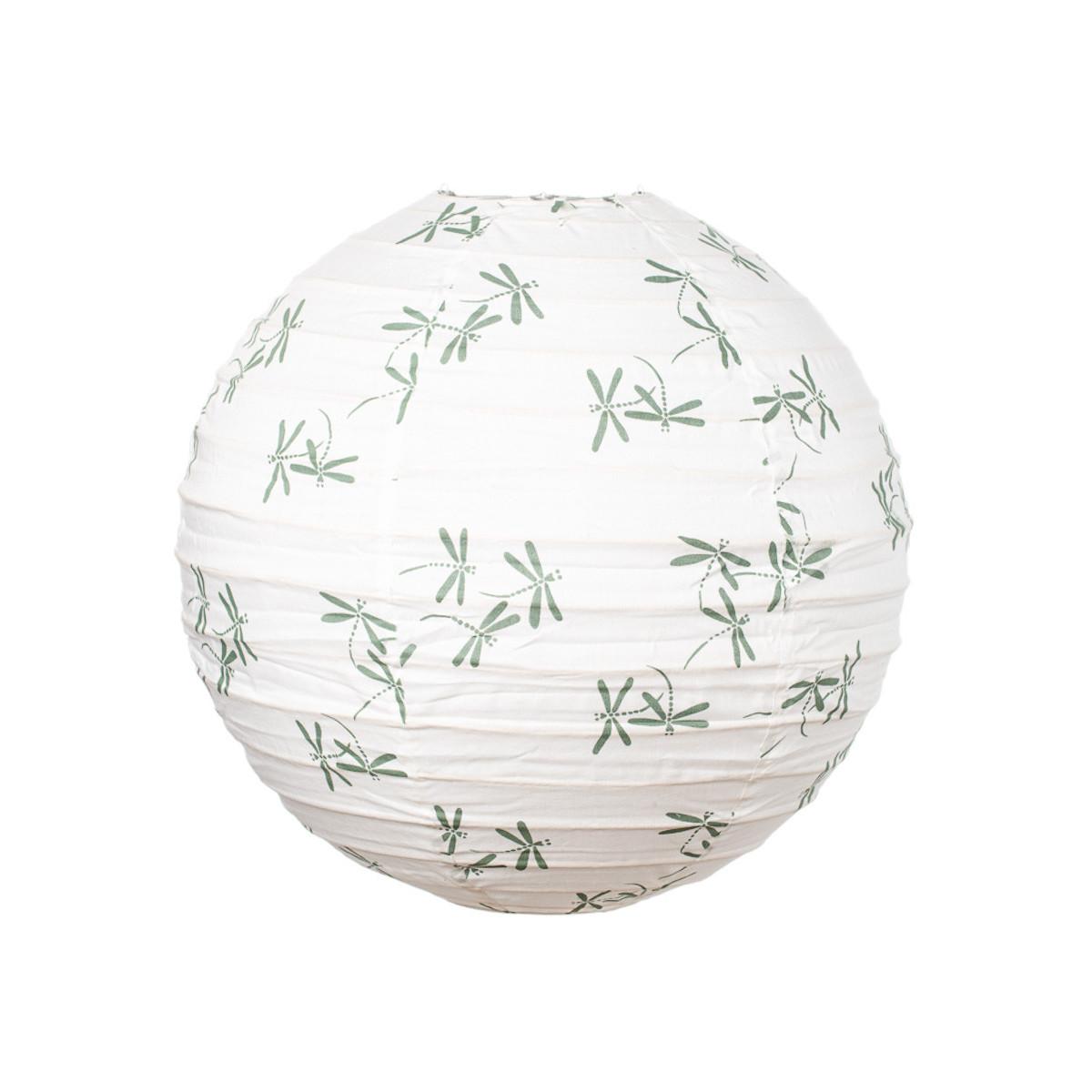 Lampion tissu boule japonaise rond libellule vert