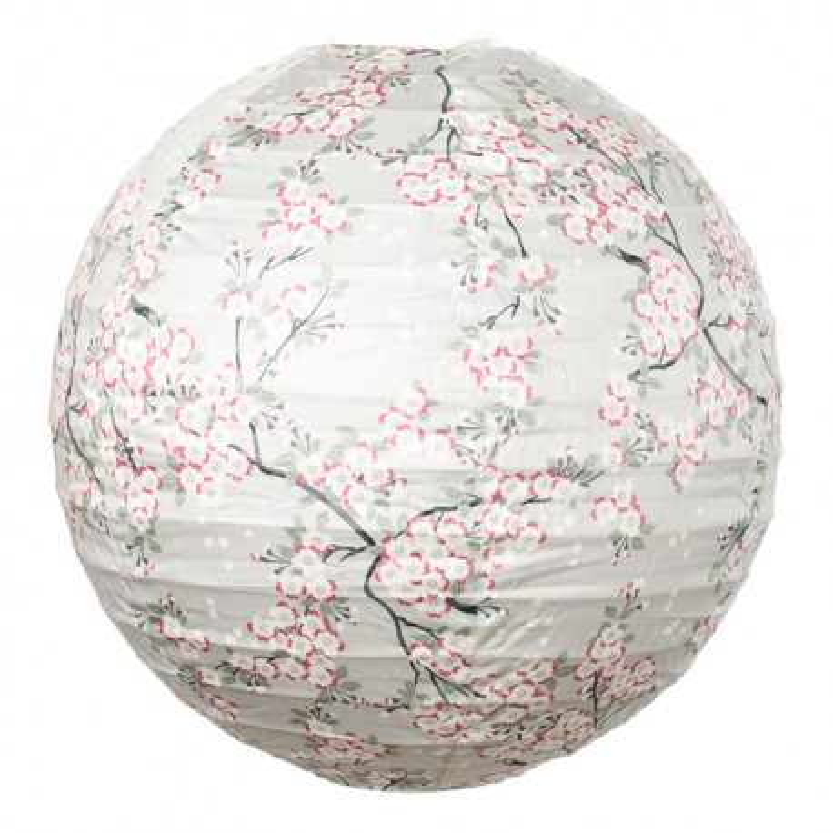 Lampion tissu boule japonaise rond gris perle et fleurs cerisiers